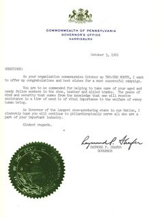 Letter of thanks from Governor of PA Raymond Shafer