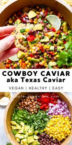 Texas Caviar, aka Cowboy Caviar, is a healthy, flavorful, and easy dip recipe that can be eaten as a salad. Full of prot Vegan Appetizers, Appetizer Recipes, Picnic Recipes, Caviar Recipes, Texas Caviar Recipe, Bean Dip Recipes, Whole Food Recipes, Cooking Recipes, Chef Recipes