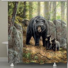 Get inspired by the beauty of wildlife with Laural Home's Black Bear with Cubs Shower Curtain. This digitally printed accent features a vivid scene of a mama bear and her cubs in a lush green forest. Animals And Pets, Baby Animals, Cute Animals, Animals Images, Wild Animals, Bear Paintings, Original Paintings, Wildlife Paintings, Bear Art