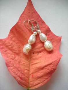 White Winter Wonder Land Panache earrings by InspiredDesigns4YOU, $25.00