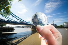 The Tower Bridge coin in situ at - Tower Bridge! Part of the Portrait of Britain 4-coin Collection - £360.00 - http://www.royalmint.com/shop/The_Portrait_of_Britain_Collection