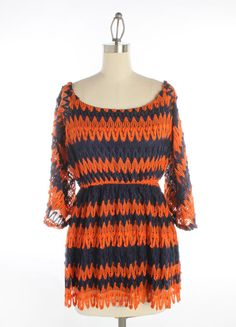 Navy and Orange Crochet Top with Quarter Length Sleeves and Elastic Waist Band