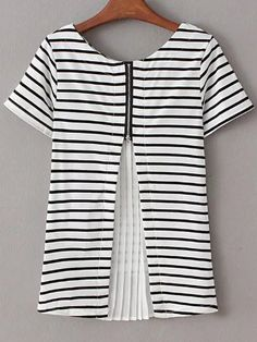 $17.99 - 06.24.2016 - Shop Black White Pleated Zipper Back Striped Blouse online. SheIn offers Black White Pleated Zipper Back Striped Blouse & more to fit your fashionable needs.