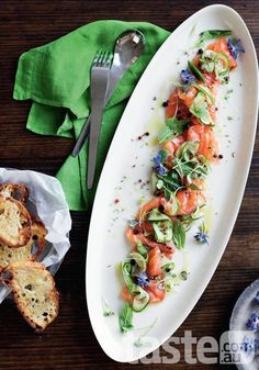 going full bloom with gin-cured salmon and it botanicals notably juniper berries and coriander seeds. (Photography by Ben Dearnley; Recipe by Jill Dupleix). Lime Recipes, Salmon Recipes, Seafood Recipes, Cooking Recipes, Healthy Recipes, Cured Salmon Recipe, Good Food, Yummy Food, Appetisers
