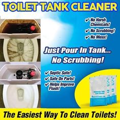 , Toilet Tank Cleaner (Set of , Clean your toilet super fast and easily with Tank Cleaner! Our Toilet Tank Cleaner features a powerful cyclonic foaming action so there's no scrubbing. Deep Cleaning Tips, House Cleaning Tips, Spring Cleaning, Cleaning Hacks, Car Cleaning, Cleaning Products, Toilet Tank Cleaner, Homemade Toilet Cleaner, Organizer Box