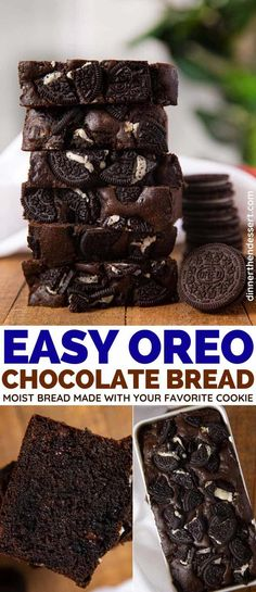 Oreo Chocolate Bread is a decadent mashup of your Oreos, chocolate chips and moist, rich, chocolate loaf cake. # oreo Desserts Oreo Chocolate Bread Recipe (Breakfast or Dessert) - Dinner, then Dessert Chocolate Bread Recipe, Chocolate Loaf Cake, Decadent Chocolate Cake, Chocolate Desserts, Chocolate Chips, Oreo Desserts, Chocolate Tarts, Just Desserts, Delicious Desserts