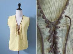 Vintage 70s knit VEST / lace up vest / boho festival clothes / sweet little woodland buttercup.  by NorthOfMain on Etsy