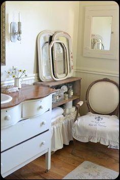 Serpentine dresser repurposed as sink