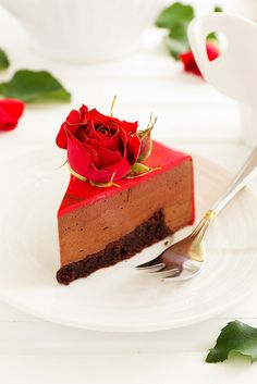 Chocolate and strawberry mousse cake in the shape of heart.