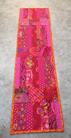 "Raspberry Parfait, 13.5"" x 51.5"" Kaffe Fassett quilted table runner by QuarterAcreArts on Etsy"