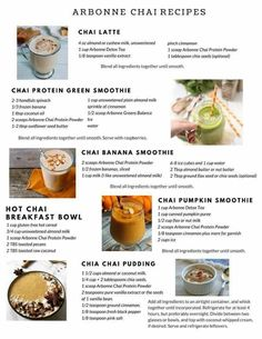 Delicious recipes with Arbonne chai protein! Delicious recipes with Arbonne chai protein! Protein Powder Recipes, Protein Shake Recipes, Protein Foods, Vegan Protein, Smoothie Recipes, Protein Mix, Protein Smoothies, Fruit Smoothies, Arbonne Shake Recipes