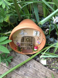 Handmade large white butterfly fairy house