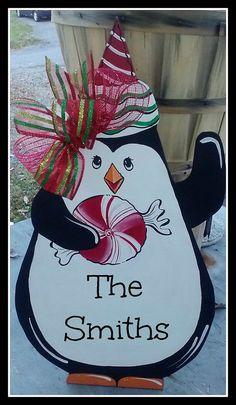 Penguin Door Hanger or Wall Decor Personalize FREE
