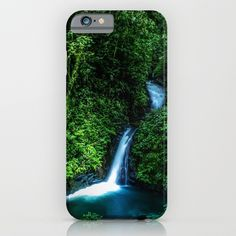 Jungle Waterfall. A small glade opens up with a beautiful waterfall deep in the jungle of the Cloud Forest Reserve of Monteverde, Costa Rica. #forest #rainforest #nature #green #landscape #waterfall #iphone #case #smartphone