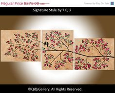 56 original oil landscape painting love birds by QiQiGallery