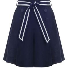 ZIMMERMANN Meridian Sailor Shorts ($260) ❤ liked on Polyvore featuring shorts, swim shorts, tie belt, navy blue high waisted shorts, swimming shorts and high waisted sailor shorts