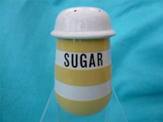 RARE TG GREEN YELLOW BANDED SUGAR SHAKER - T G GREEN CORNISHWARE