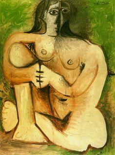 Pablo Picasso (1960) - Femme nue accroupie sur fond vert
