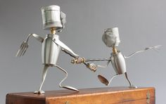 ab1addfd74a Fencing - Found Object Robot Assemblage Sculpture By Brian Marshall