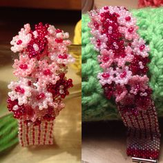 Cherry blossom bracelet #seedbeads #netting #jewellery #floral
