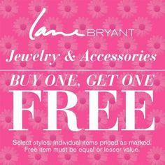 Jewelry & Accessories BOGO! @Lane Bryant  Now thru Sunday, May 12!