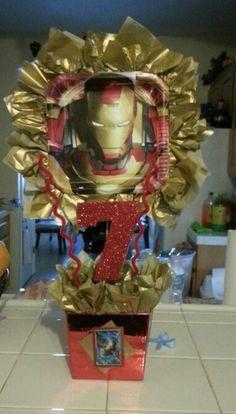 Iron man centerpieces Birthday Party Tables, Superhero Birthday Party, Birthday Crafts, 4th Birthday Parties, Iron Man Theme, Iron Man Party, Manly Party Decorations, Birthday Party Decorations, Iron Man Birthday