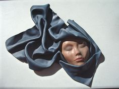 "Sculpted Leather Face Art Woman Blue Scarf Painted Signed Wall Mounted 21"" x22"" #ContemporyArtNouveau"