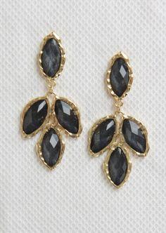 Four Tear-Drop Earrings #earrings #charcoal #gold #dangly #kieus