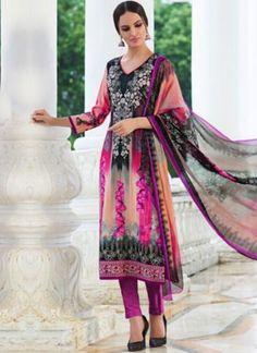 Black Pink Neck Embroidery Printed Cotton Satin Designer Casual Pakistani Suit  http://www.angelnx.com/Salwar-Kameez