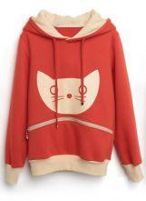 Orange Hooded Long Sleeve Cat Print Zipper Sweatshirt $46.08  #SheInside