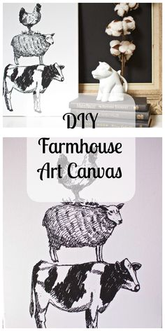 DIY Farmhouse Canvas Art - It takes less than $10 and 2 minutes to create! This is a flour sack kitchen towel and an artist canvas and hot glue! 2 Bees in a Pod