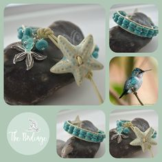 Turquoise Single Wrap with Ceramic Starfish Button The-Birdcage