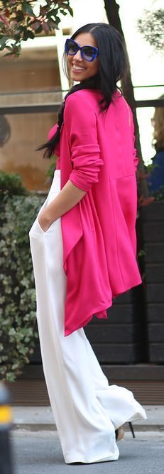 Fuchsia And White Spring Outfit