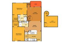 B5 floorplan (2 bed, 2 bath. 1027 sq. ft.) at Villas on Guadalupe, Austin, TX