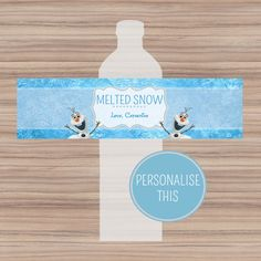 Disney Frozen Bottle Labels - Personalized + Printable - Melted Snow Frozen Water Bottle Labels - Frozen Party Favor on Etsy, $5.33