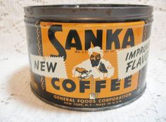 "Vintage Sanka Coffee Tin "" The Aroma Won It's Diploma"" Coffee Tin, Coffee Corner, Great Coffee, Vintage Tins, Vintage Labels, Vintage Food, Coffee Advertising, Coffee Health Benefits, Tea Tins"