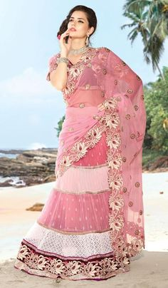 G3 fashions Baby Pink Net Wedding Wear Lahenga Saree  Product Code : G3-LS10454 Price : INR RS 7832