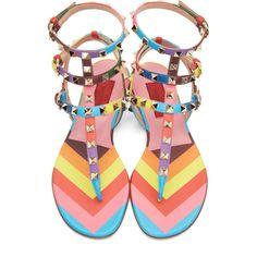 12/27/14 Valentino Multicolor 1973 Print Rockstud Gladiator Sandals