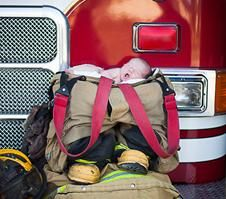 Ashley Kurusis, firefighter, fire station, newborn, baby boy