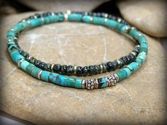 A nice set of mens bracelest beaded in rustic turquoise with silver beads for accent and the other created with black picasso seed beads also with silver beaded accents. Love the combination of these beads together...a mix of rustic and classy together....earthy but sharp. You could wear these for any occasion with that kind of style mix.    Size: 8    Look for more designs in my shop here:  stoneweardesigns.etsy.com