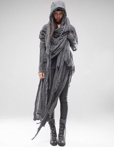 LIMITED EDITION fine knit detailed hooded shawl with relief elements, wrap closure, soft to the touch. CONTAINS: extrafine alpaca wool, nylon Dark Fashion, Slow Fashion, Desert Clothing, Apocalypse Fashion, Dystopian Fashion, Post Apocalyptic Fashion, Steampunk, Cute Coats, Fashion Design Drawings