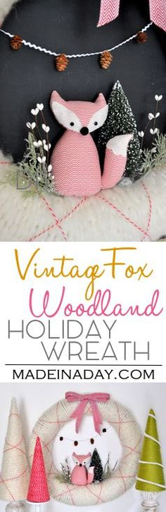 Vintage Fox Holiday Woodland Wreath, brush trees, holiday yarn cone trees, mini pinecones, argyle wrapped wreath. via @madeinaday