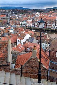 A view from the step over the rooftops of the old town of Whitby in North…