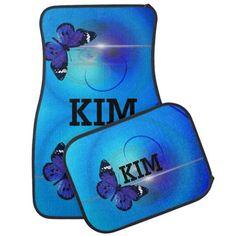 Blue Butterfly Car Floor Mat | Zazzle.com Car Mats, Car Floor Mats, Custom Car Accessories, Custom Car Interior, Artwork Design, Blue Butterfly, Custom Cars, Monogram, Flooring
