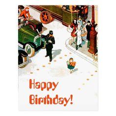 Vintage Funny Happy Birthday Humour Illustration Postcard