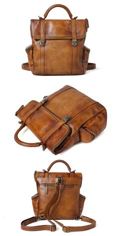 Design Handbag Handmade Full Grain Leather Handbag Leather Backpack