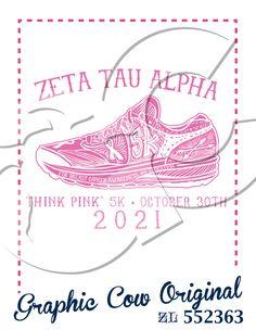 Zeta Tau Alpha Think Pink 5k tennis shoe ribbon breast cancer philanthropy #grafcow