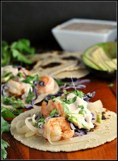 #HealthyRecipe // Honey-Lime Tequila Shrimp Tacos with Avocado and Chipotle Cream {Flavor MyPlate}