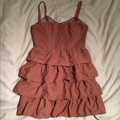 Pinkyotto dress Pinkyotto boutique dress, pink/orange color as pictured, size small, mesh/ruffle detail in front, button detail in back, never worn, perfect condition Dresses Mini