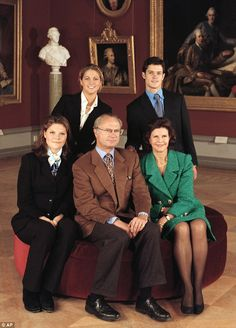 The Swedish royal family poses for a group picture at the Swedish National Museum in Stockholm in 1998 - sitting from left are Crown Princess Victoria, King Carl Gustaf and Queen Silvia; standing are Princess Madeleine and Prince Carl-Philip.